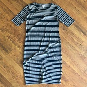 NWOT LULAROE small JULIA- grey black stripes